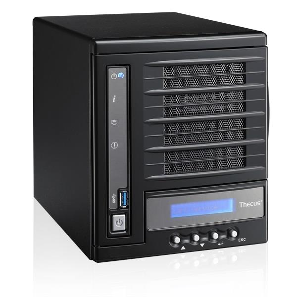 Thecus 4-Bay tower NAS, SATA, 1.6GHz Dual Core, 2GB DDR3, 1x GbE, USB 3.0