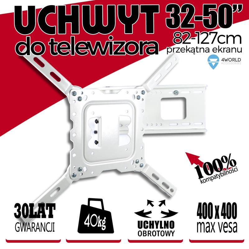 4World Otočný a sklopný držák pro LCD 32''-50'' nosnost max. 40kg WHT