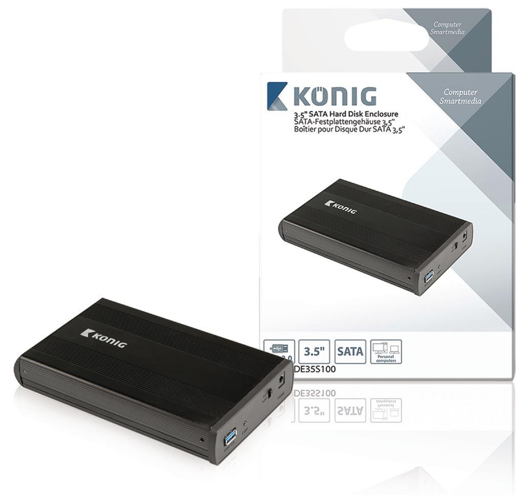 """Konig přenosný box pro pevný disk 3,5"""" SATA USB 3.0"""