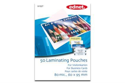 EDNET Laminating Pouches for Business Cards