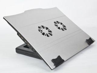 Gembird podstavec pro notebook, 2 ventilátory, USB hub,nastavitelný úhel sklonu