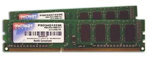 Patriot 4GB (Kit 2x2GB) 1333MHz DDR3 CL9 DIMMs