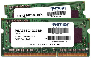 Patriot 2x8GB Signature Line pro Apple 1333MHz DDR3 CL9 1.5V SODIMM