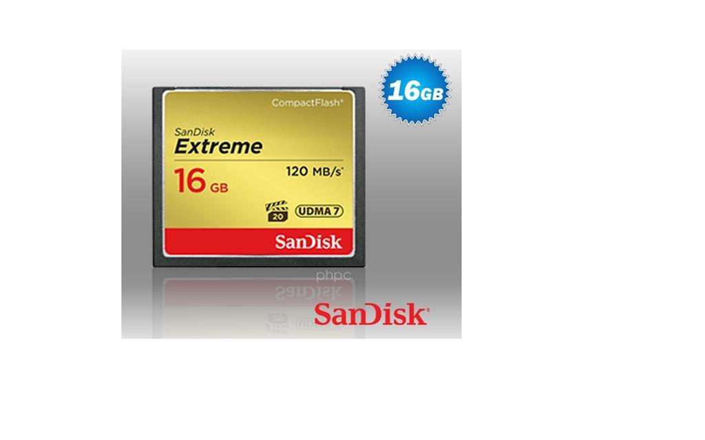 SanDisk Compact Flash Extreme karta 16GB UDMA7 (rychlost až 120MB/s)