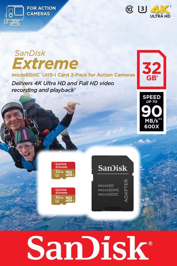 SanDisk Extreme memory card microSDXC 64GB 90MB/s, UHS-III, +Adapter
