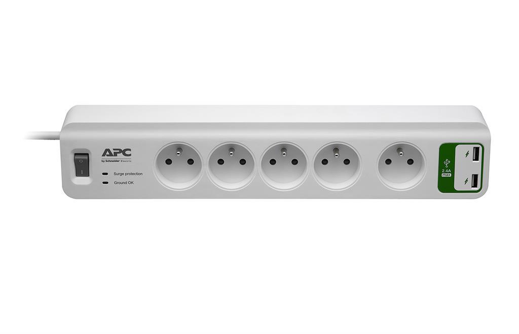 APC základní SurgeArrest 5 českých (french) zásuvek, s 2 USB nabíječkou 5V, 2.4A