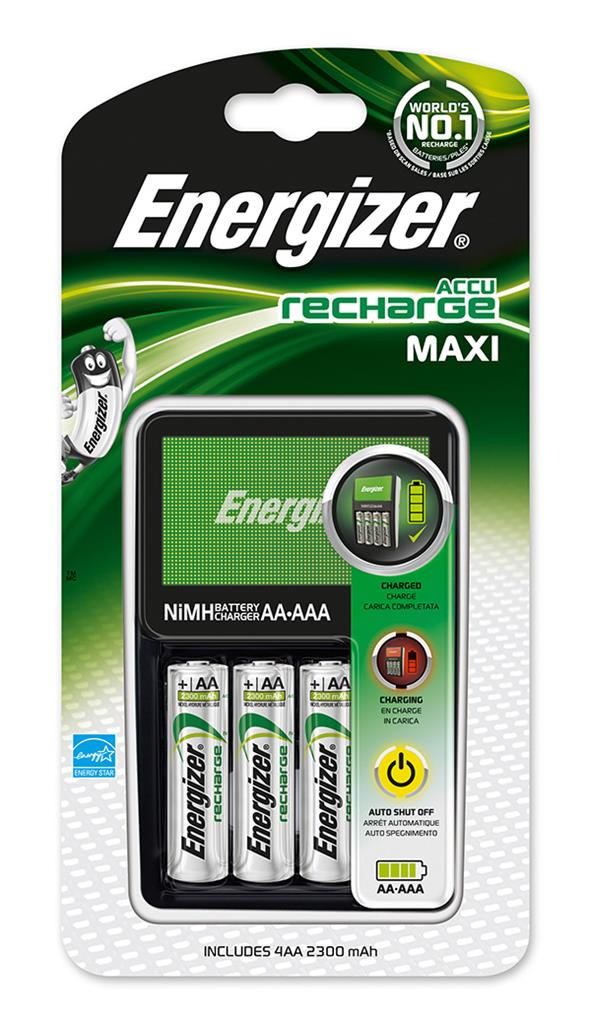 Nabíječka baterií ENERGIZER Maxi + 4 nabíjecí Power Plus AA baterie