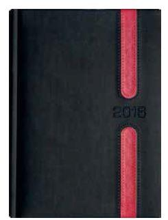 Kalendarz A5 Książkowy Lux Okładka 09 -L3 Grafit/Czerw.