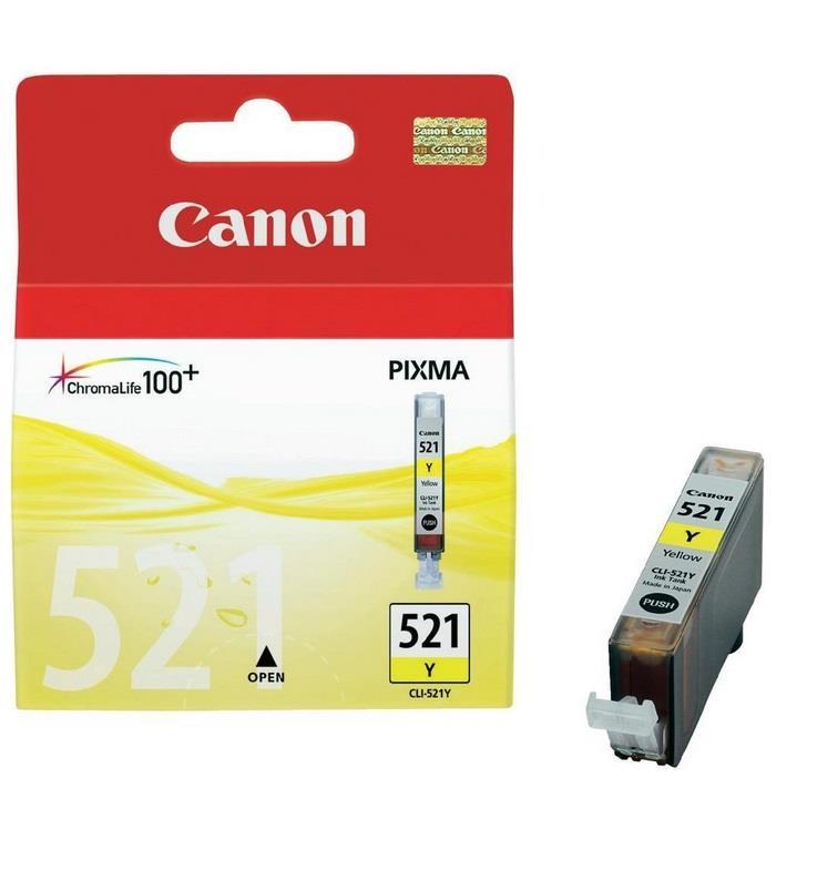 Inkoust Canon CLI521Y žlutý | iP3600/iP4600/MP540/MP620/MP630/MP980