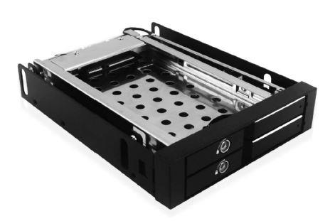 Icy Box Mobile Rack for 2x 2.5'' SATA HDD or SSD, Black