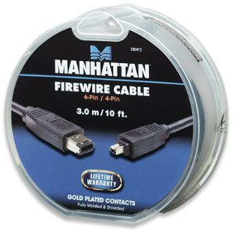 Manhattan IEEE 1394 FireWire kabel 6-Pin/4-Pin 3m, černý