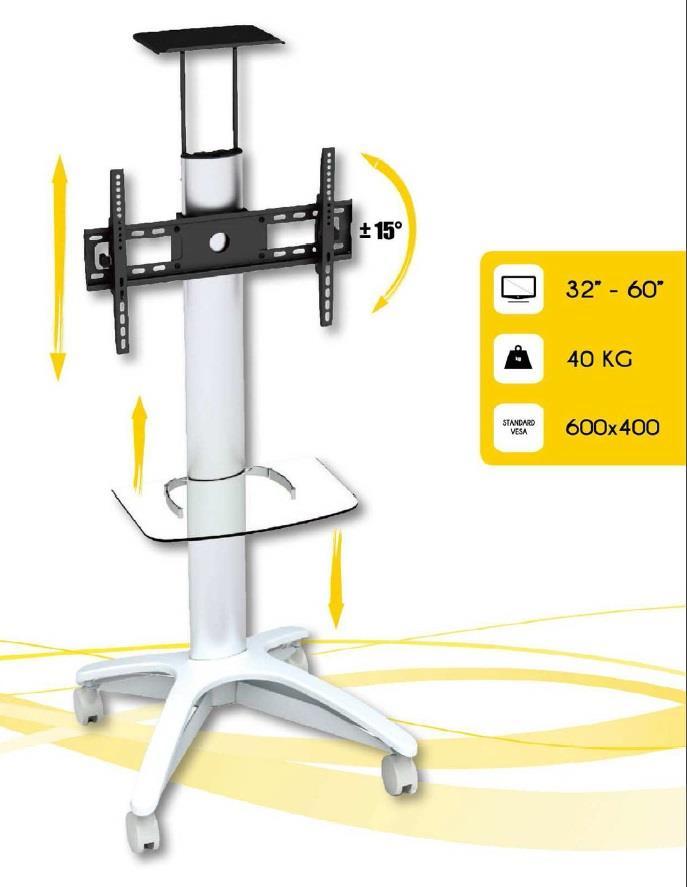 Techly mobilní stojan pro TV LCD/LED/Plasma 32''-60'' 40 kg VESA s policí