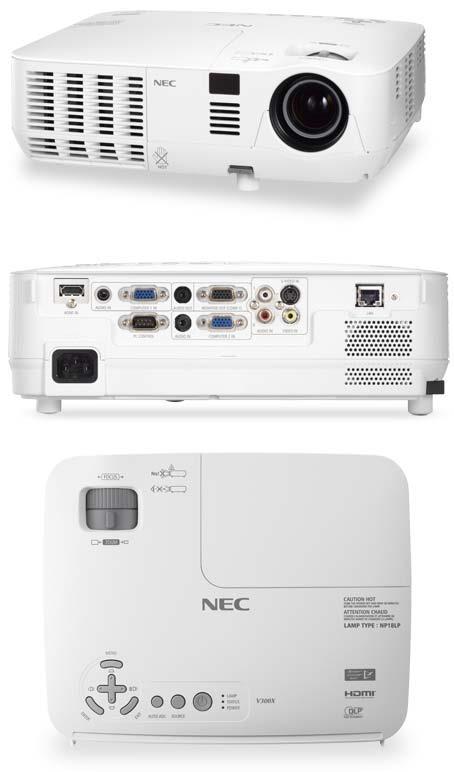 Projektor NEC V311W; DLP; WXGA (1280x800); 3100 ANSI; 3000:1; HDMI; RJ45; 3D
