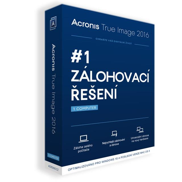 Acronis True Image 2016 - 1 Computer - CZ BOX