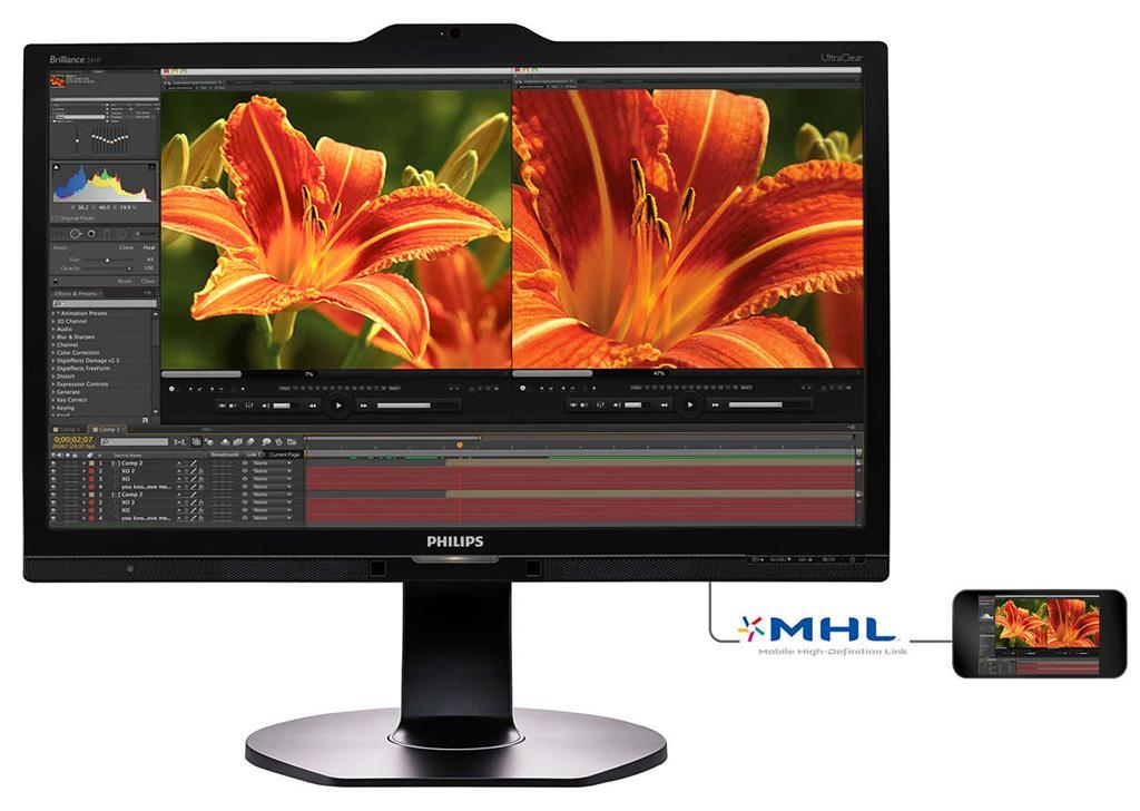 Monitor Philips 241P6VPJKEB 23.8'', 4K, IPS, D-Sub/DVI/HDMI/DP