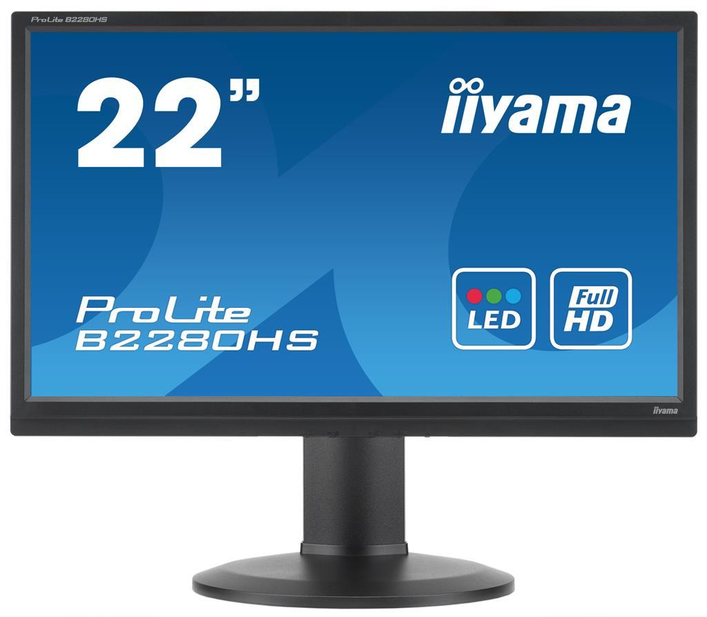 Iiyama LCD-LED B2280HS-B1DP 21.5'' LED Full HD, 2ms, DVI-D,DP,reproduktory