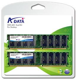 ADATA 2GB (Kit 2x1GB) 400MHz DDR CL3 DIMM, retail