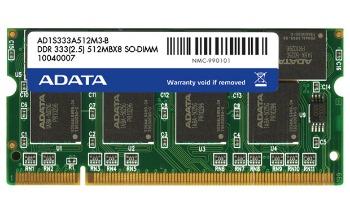 ADATA 1GB 333MHz DDR SODIMM CL 2.5 (pro NTB), bulk