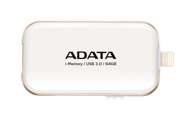 ADATA i-Memory flash disk UE710 64GB pro iPhone,iPad,iPod (iOS), USB 3.0, bílá