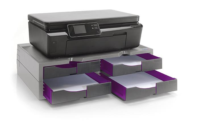 A4 Organizer/Stand for printers, MFP's and monitors (grey/purple, 4 drawers)