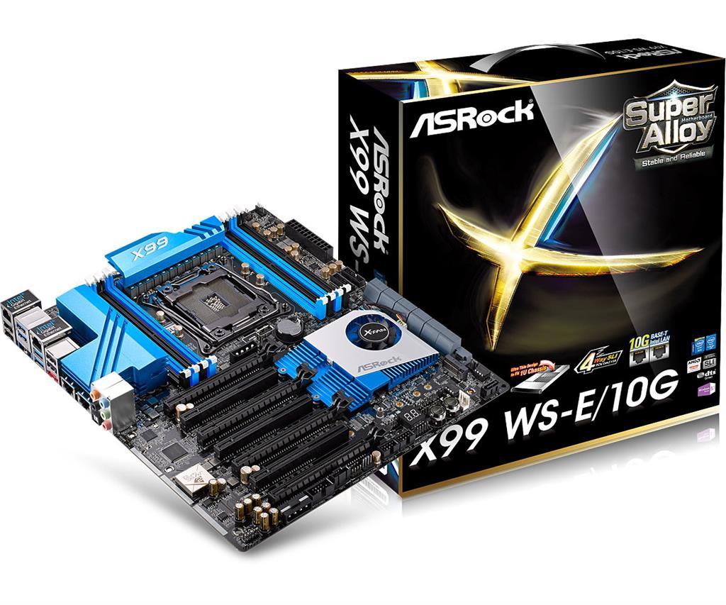 ASRock X99 WS-E/10G, X99, QuadlDDR4-2133, SATA3, SATAe, M.2, RAID, E-ATX