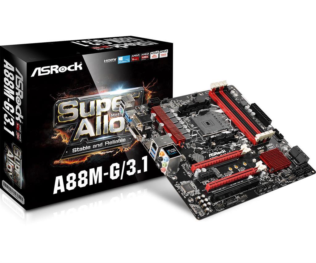 ASRock A88M-G/3.1, A88X, DualDDR3-2133, SATA3, HDMI, DVI, D-Sub, USB 3.1, mATX