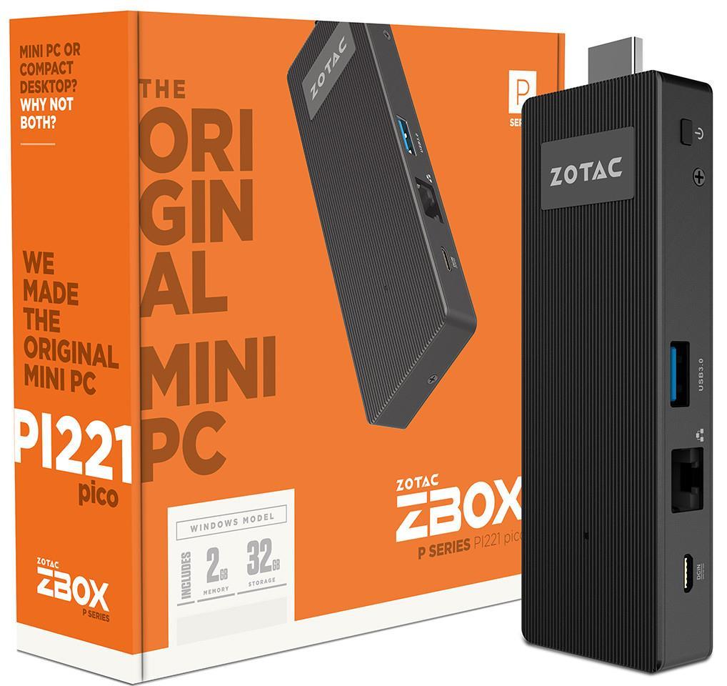 ZOTAC ZBOX PI221, x5-Z8300, 2GB DDR3-1600, 32GB eMMC, HDMI, microSD, WIN 10 Home
