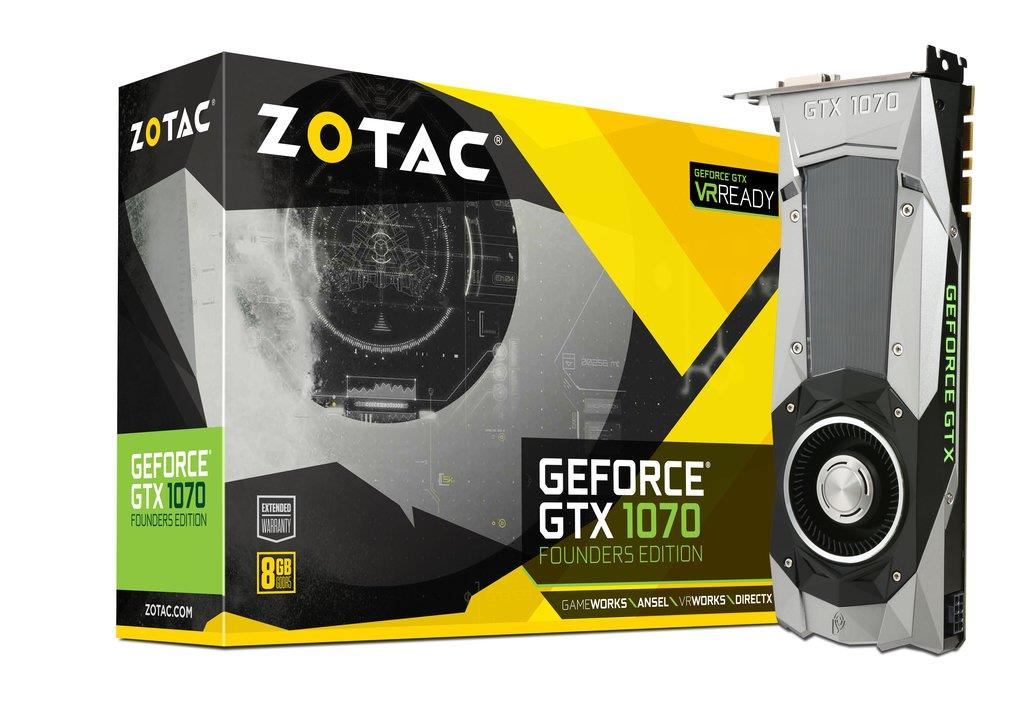 ZOTAC GeForce GTX 1070 Founders Edition, 8GB GDDR5 (256 Bit), HDMI, DVI, 3xDP