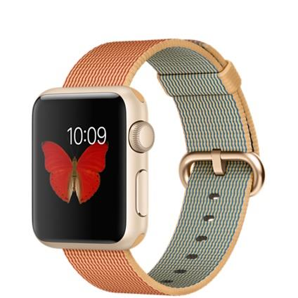 Apple Watch Sport 38mm Gold Aluminium Case with Gold/Red Woven Nylon