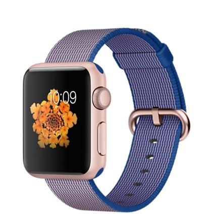 Apple Watch Sport 38mm Rose Gold Aluminium Case with Royal Blue Woven Nylon