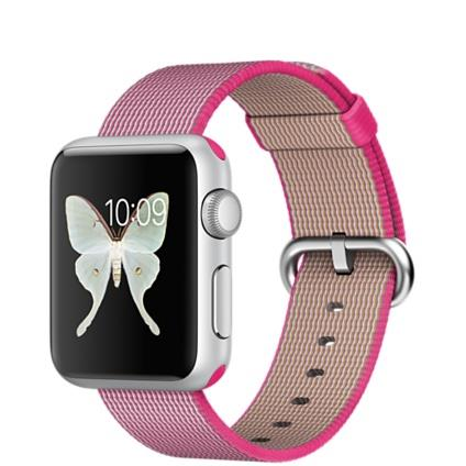 Apple Watch Sport 38mm Silver Aluminium Case with Pink Woven Nylon