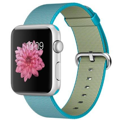 Apple Watch Sport 42mm Silver Aluminium Case with Scuba Blue Woven Nylon