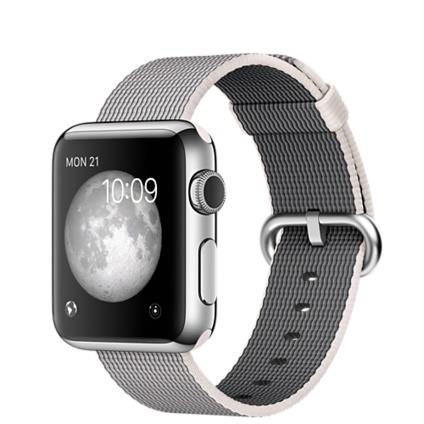 Apple Watch 42mm Stainless Steel Case with Pearl Woven Nylon