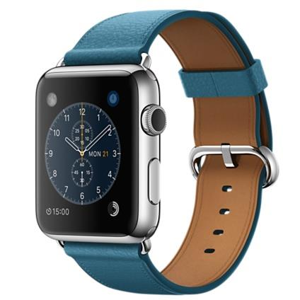 Apple Watch 42mm Stainless Steel Case with Marine Blue Classic Buckle