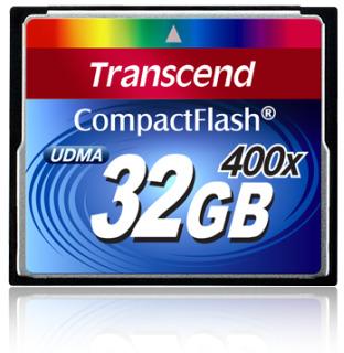 Transcend Compact Flash karta 32GB 400x, čtení až 90MB/s; zápis až 60MB/s