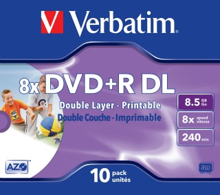 Verbatim DVD+R DL [ jewel case 10 | 8.5GB | 8x | printable ]