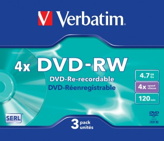 Verbatim DVD-RW [ slim jewel case 3 | 4.7GB | 4x | Matt Silver ]