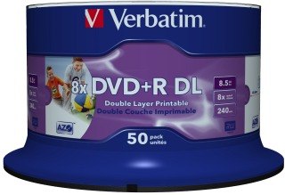 Verbatim DVD+R DL [ spindle 50 | 8.5GB | 8x | printable Wide ]