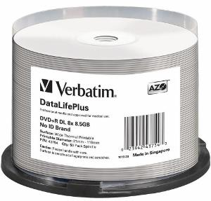 Verbatim DVD+R DL [ spindle 50 | 8.5GB | 8x | WIDE THERMAL PRINTABLE ]