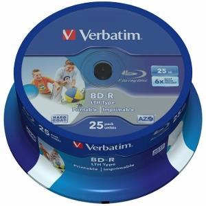 Verbatim Blu-ray BD-R LTH [ spindle 25   25GB   6x  WIDE PRINTABLE NO ID ]
