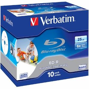 Verbatim Blu-ray BD-R [ jewel case 10   25GB   6x   PRINTABLE SURFACE HARD COAT]