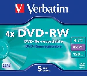 Verbatim DVD-RW [ jewel case 5 | 4.7GB | 4x ]