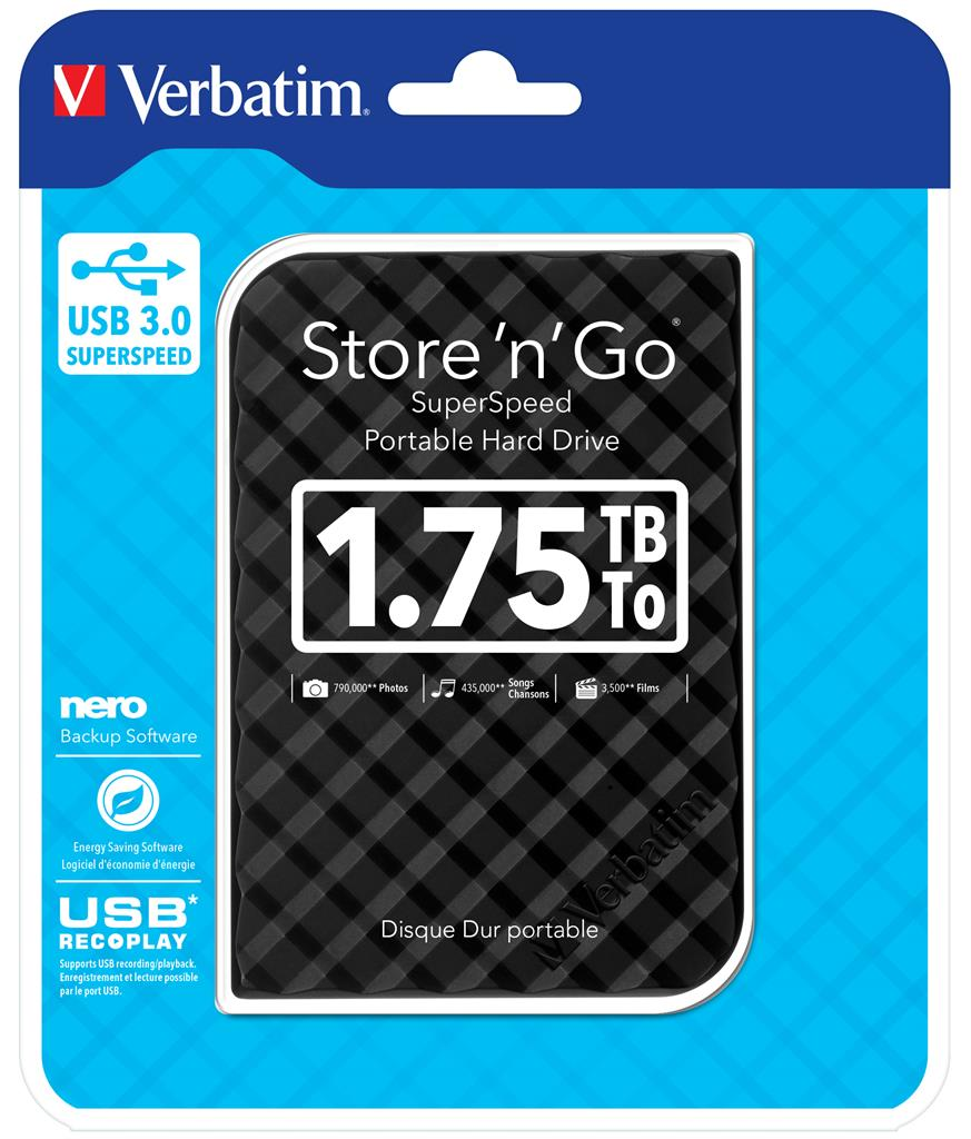 Verbatim Store 'n' Go 1,75TB, externí HDD 2.5'' USB 3.0, černý