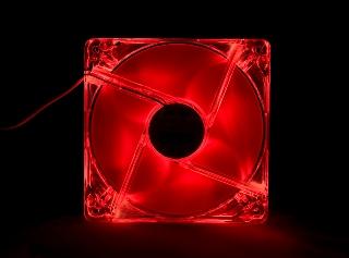 Ventilátor MODECOM 120x120x25mm 4 Pin Molex červený LED