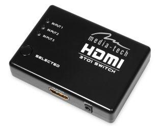 Media-Tech 3 PORT HDMI SWITCH switch HDMI (3 porty), dálkové ovládání