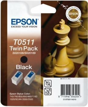 Inkoust Epson T0511 black Doublepack   Stylus Color 740/760/800/850/860/1160/152