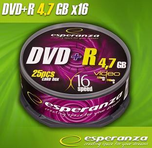 Esperanza DVD+R [ cakebox 25   4.7GB   16x ]