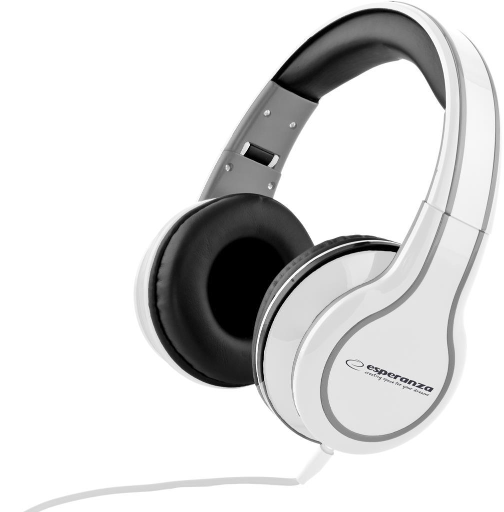 Esperanza EH136W BLUES Stereo sluchátka, skládací, ovl. hlasitosti, 3m, bílá