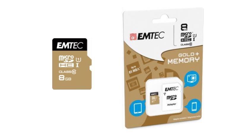 Emtec memory card microSDHC 8GB Class 10 Gold+ (85MB/s, 16MB/s)