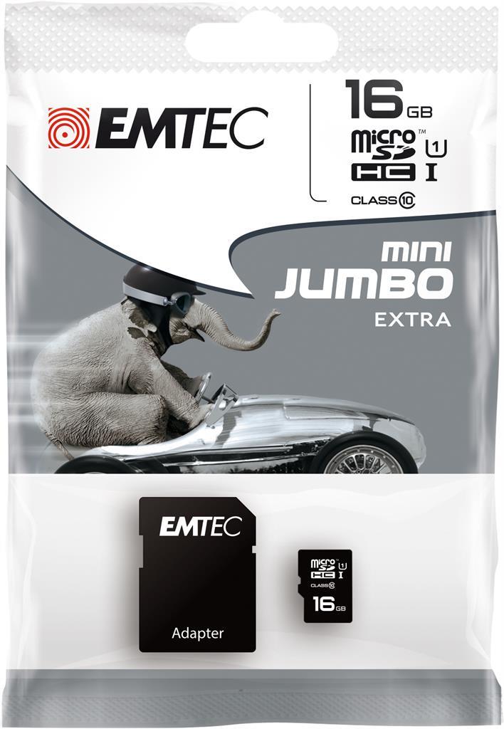 EMTEC Micro SDHC karta 16GB Class 10 (45MB/s, 14MB/s) + adaptér SDHC